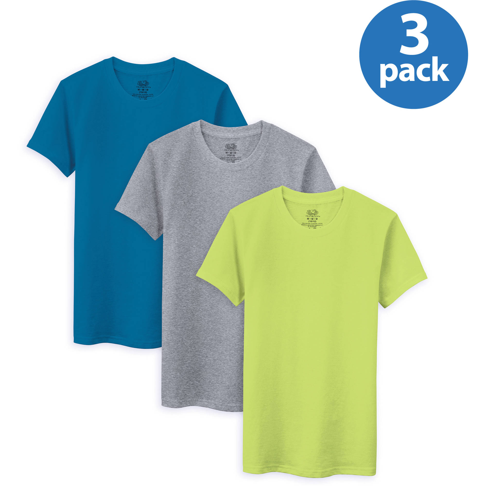 Fruit of the Loom Boys' Assorted T-shirt, 3-pack