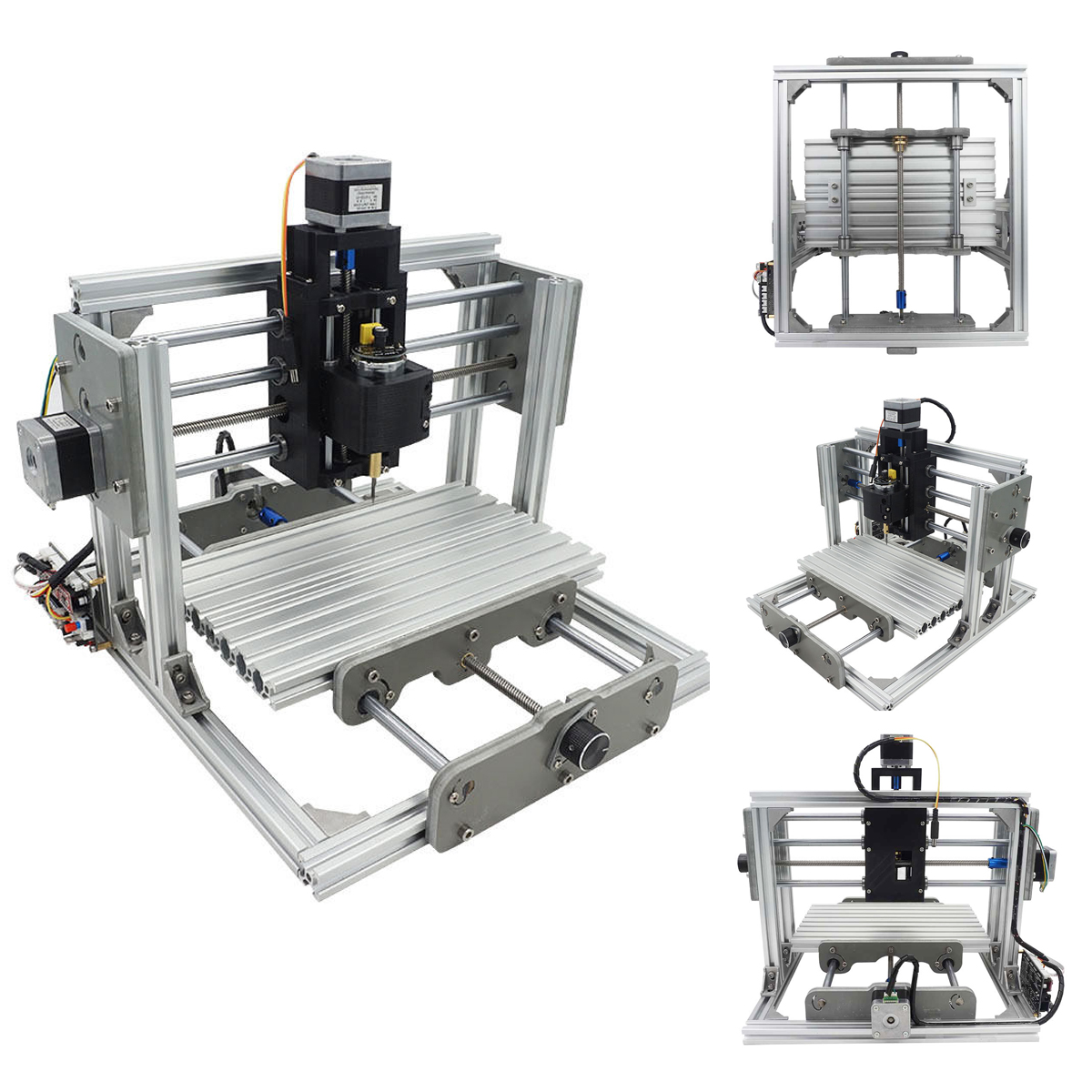 3 Axis Mini PCB PVC CNC Milling Machine Engraving DIY Router Kit With 2500mw Laser Engraver 9.4X6.7X2.6""