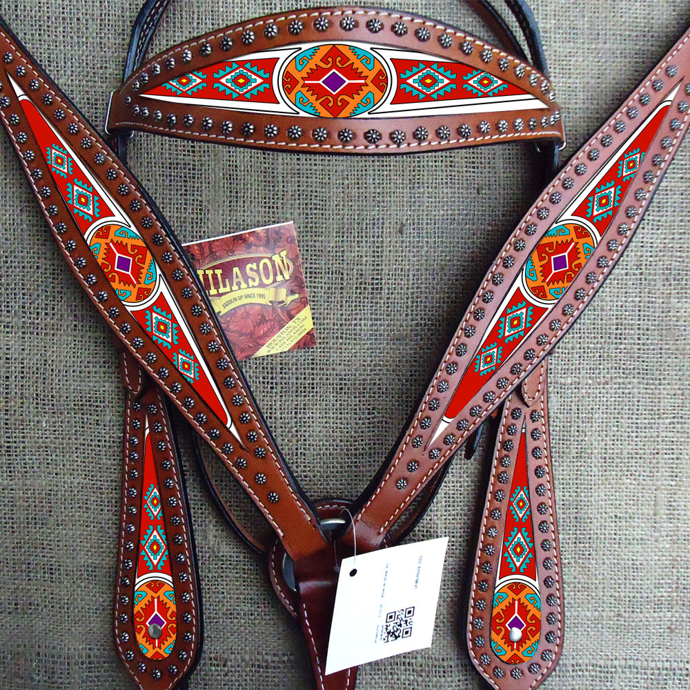 HILASON WESTERN AMERICAN LEATHER HEADSTALL BREAST COLLAR MAHOGANY AZTEC PAINTED