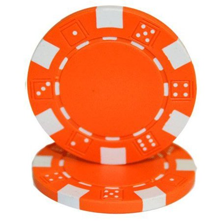 Aces 11.5g Clay (Striped Dice 11.5g Blank Poker Chips, Orange Clay Composite,)