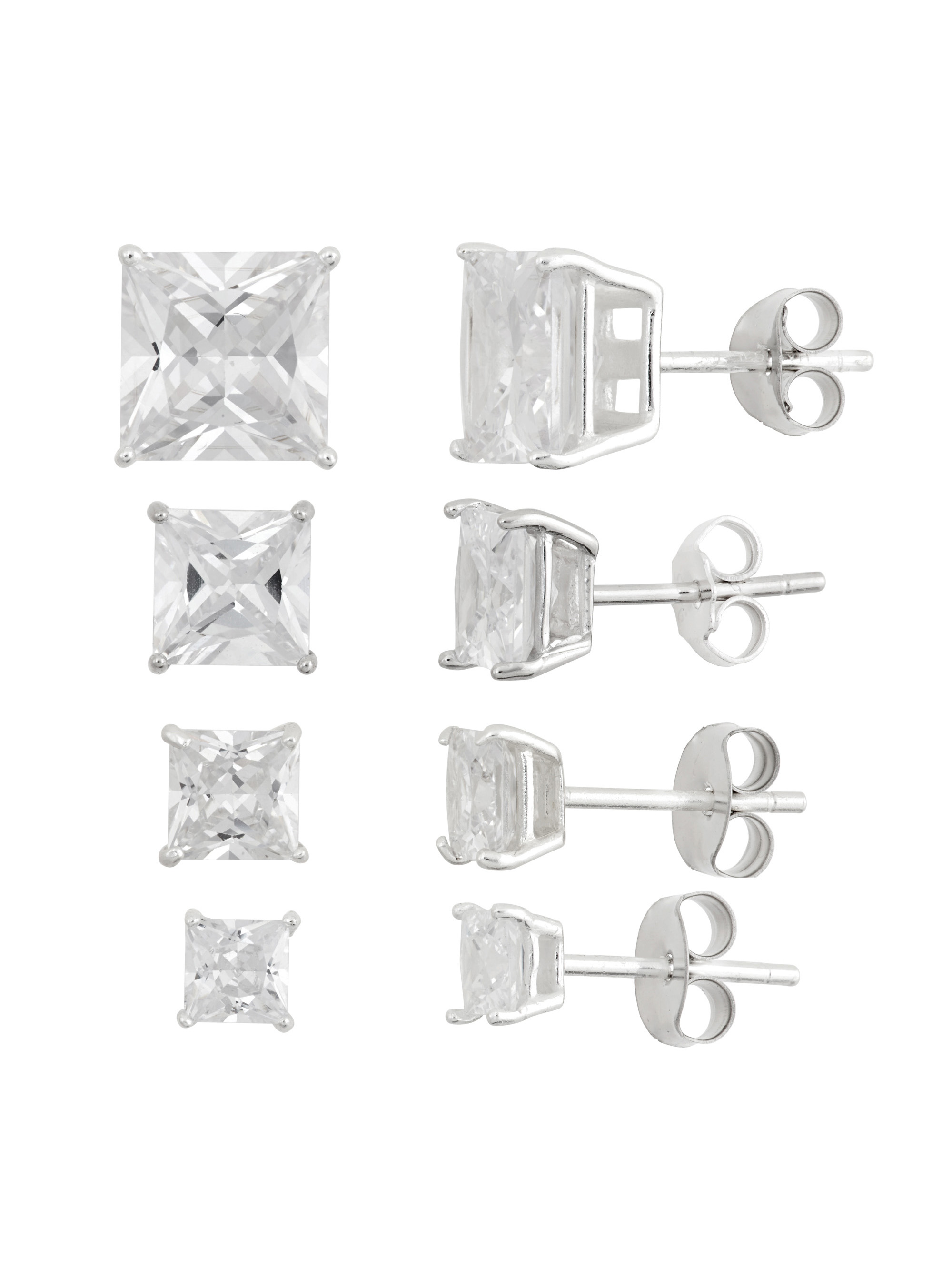 White CZ Square 4mm, 5mm, 7mm and 8mm Sterling Silver Stud Earrings Set