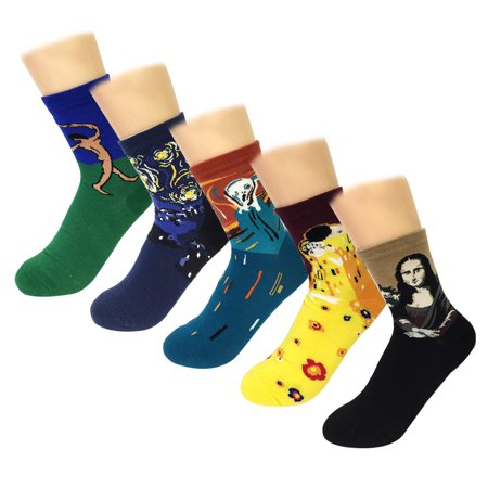 Wrapables® Famous Painting Masterpiece Artwork Crew Socks (5 pairs), Collection (Best Oil Paintings Canvas Prints Snow Socks)