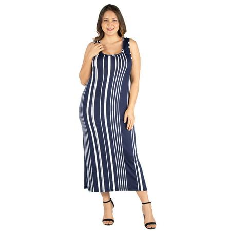 Women's Plus Size Vertical Stripes Racerback Maxi Dress