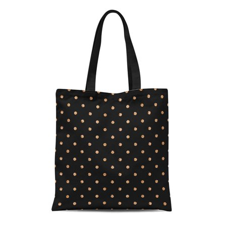 ASHLEIGH Canvas Tote Bag Yellow Polka Dots of Rose Gold on Sparkles Shining Reusable Shoulder Grocery Shopping Bags Handbag