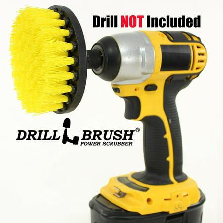 4 Inch Brush - 4 Inch Diameter Power Spinning Detailing Nylon Scrub Brush With Quarter Inch Quick Change Shaft by Drillbrush