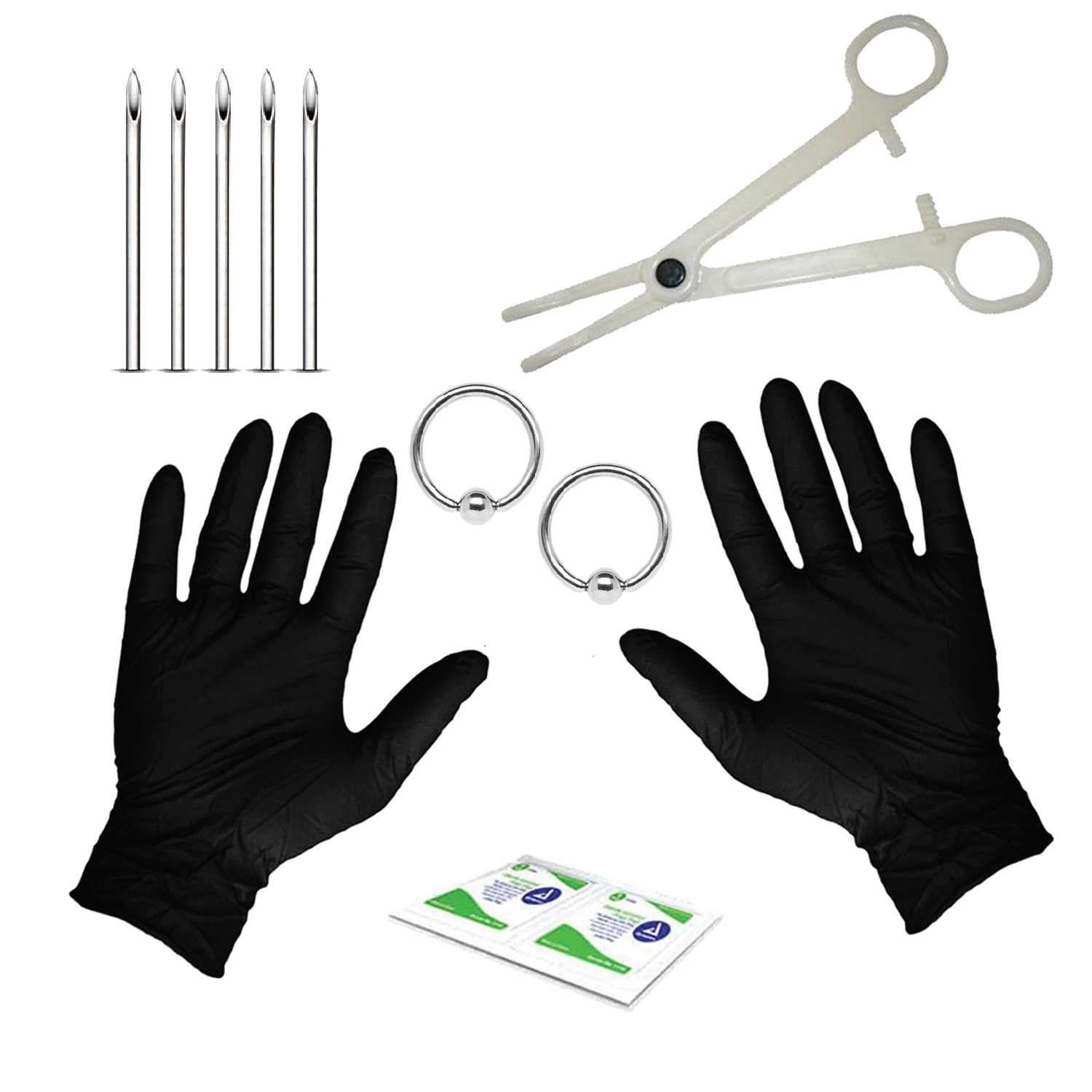 BodyJ4You 10PC Professional Piercing Kit BCR Belly Nipple Lip Nose 14G Steel Body Jewelry