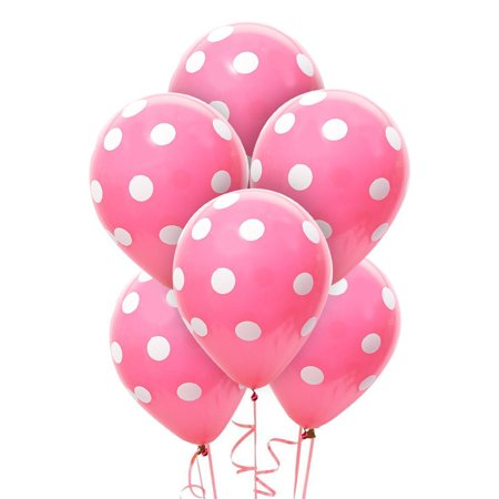 Pink and White Dots Latex Balloons (6) (Pink And White Polka Dot Balloons)