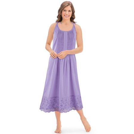 - Women's Eyelet Hem Pintuck Sleeveless Tie Shoulder Knee Length Cotton Nightgown, Xx-Large, Lavender