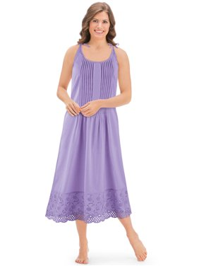 ad8267f86 Product Image Women s Eyelet Hem Pintuck Sleeveless Tie Shoulder Knee  Length Cotton Nightgown
