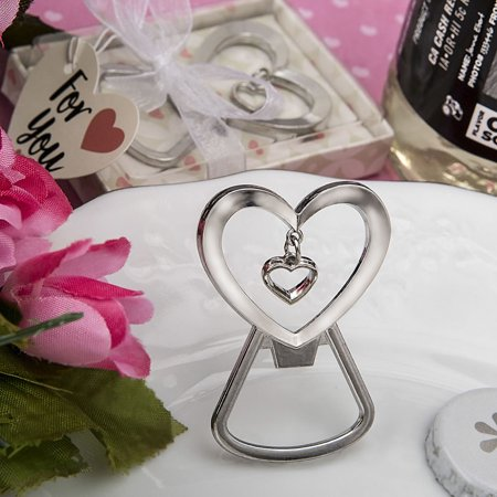 Heart Shaped Bottle (96 Heart shaped silver metal bottle opener with dangling heart design )