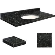 """Transolid Quartz 43"""" x 22"""" Bathroom Vanity Top with Eased Edge, 8"""" Contour and White Bowl, Available in Various Colors"""
