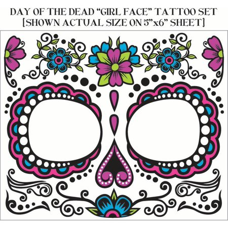Sugar Skull Temporary Tattoo Dia De Los Muertos Day Of The Dead Face Womens (Day Of The Dead Mariachi Tattoos)