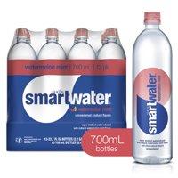 (12 Bottles) smartwater watermelon mint, vapor distilled premium bottled water, 23.7 fl oz
