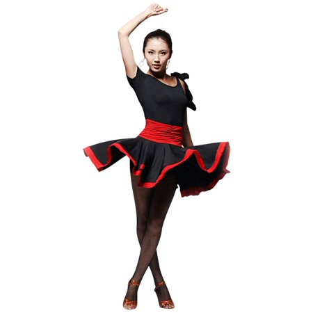 Faship Womens Dance Dress Black Red Ballroom Latin Tango Rumba Cha Cha Samba,X-Small,Black - Black,XS