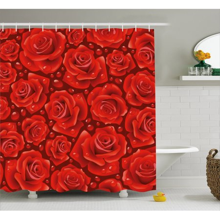 Rose Shower Curtain Vivid Red Roses Rain Water Drops Graphic Dewy Meadows Inspired Romantic Pattern