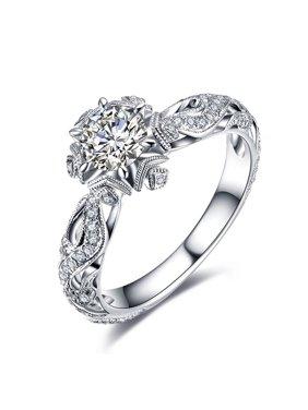 AkoaDa AkoaDa Exquisite 0.8Ct White Sapphire Diamond Ring Sparkling Women  Gemstone Rings Bride Engagement Wedding Jewelry Accessories Anniversary Gift