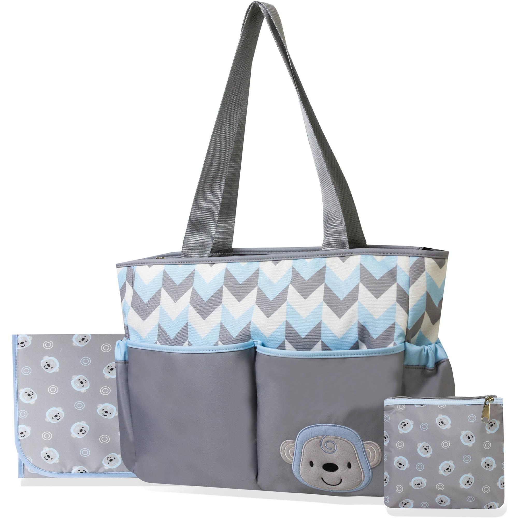 Tender Kisses Monkey 3-Piece Diaper Tote Bag Set