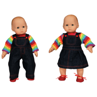 The Queen's Treasures 15 Inch Twin Doll Clothes, Rainbow Outfit Skirt and Overalls, 2 Shirt and 2 Pair Shoes. Compatible with American Girl Bitty Baby Dolls