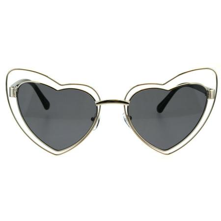 Double Metal Rim Cat Eye Designer Gothic Heart Shape Sunglasses Gold (Best Designer Cat Eye Sunglasses)