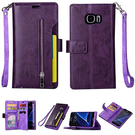 Soft Leather Case Cover - Galaxy S7 Edge Zipper Wallet Case, Allytech [Magnetic Closure] Multi-Functional Handbag Stand Function Folio PU Leather Flip Cover Inner Soft TPU Case for Samsung Galaxy S7 Edge Phone, Purple