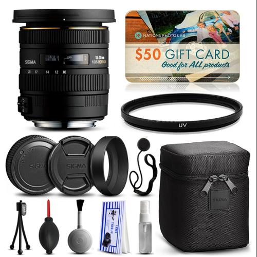 Sigma 10-20mm F3.5 EX DC HSM Lens for Nikon (202306) with Starter Accessories Package includes UV Ultraviolet Filter + Deluxe Cleaning Kit + Air Dust Blower + Cap Keeper + $50 Prints Gift Card