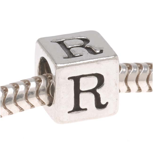 Lead-Free Pewter European Style Large Hole Alphabet Bead, Letter 'R' 6.4mm, 1 Piece, Antiqued Silver