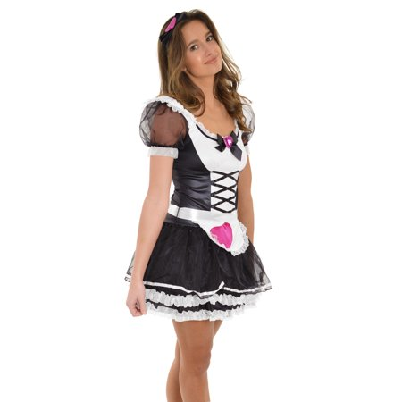 Womens Light Up Halloween Costume 4 Piece Set Dress Up Cute Maid