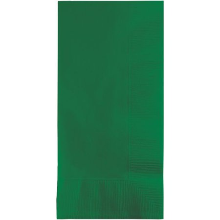 Touch of Color Dinner Napkins, 2-Ply, 1/8 Fold, Emerald Green, 50 - Green Folded Dinner Napkins
