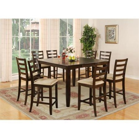 East West Furniture FAIR7-CAP-C 7 Piece Pub Height Set- Square Table and 6 Kitchen Counter Chairs