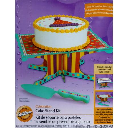 Happy Birthday Stripes and Polka Dots Cake Stand w/ Server (2pc)