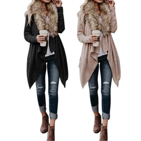 Autumn And Winter Large Fur Collar Cardigan Plush Trench Coat (Fur Collar Trench Coat)