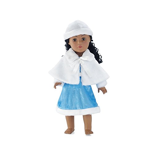 18 Inch Doll Clothes | Ice Blue Winter Dress Outfit with White Faux Fur Hat and Cape |... by Emily Rose Doll Clothes