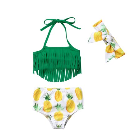 3PCS Baby Kids Girl Pineapple Bikini Set Swimwear Tassels Swimming Swimsuit Bathing Suit