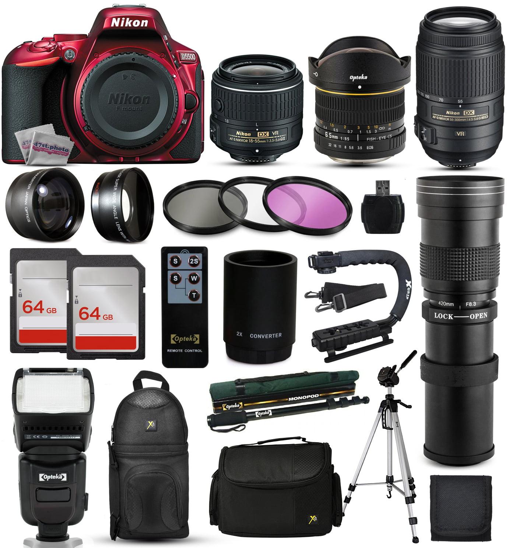 Nikon D5500 Red DSLR Digital Camera + 18-55mm VR II + 6.5...