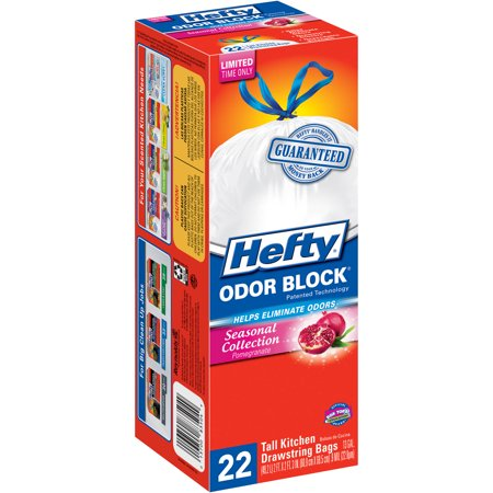 Hefty Odor Block Pomegranate Tall Kitchen Drawstring
