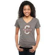 Charleston Cougars Women's Classic Primary Tri-Blend V-Neck T-Shirt - Gray