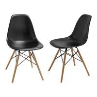 Paris Tower Dining Side Chair with Wood Legs- Set of 2 (Black)