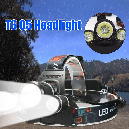5000 Lumens LED Headlamp Headlight Flashlight Torch 3 Modes Light Waterproof 3 x T6 LED For Outdoor Camping Fishing (Battery is not included) ()