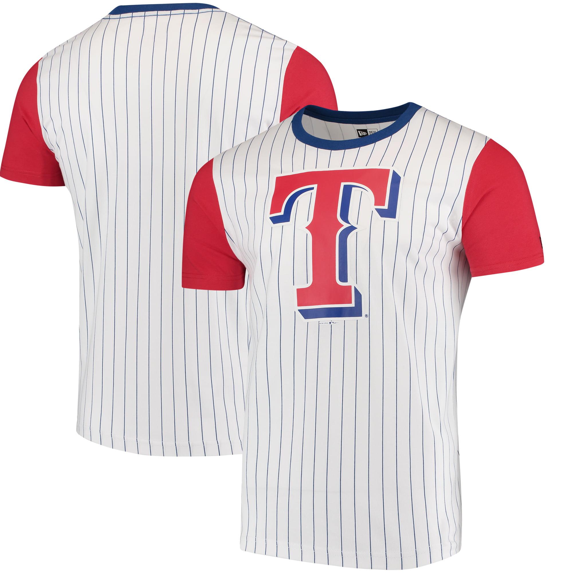 Texas Rangers New Era Pinstripe Baseball T-Shirt - White/Red