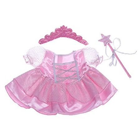 Dressed Teddy Bear - Fairy Princess w/Wand & Tiara Dress Teddy Bear Clothes Outfit Fits Most 14