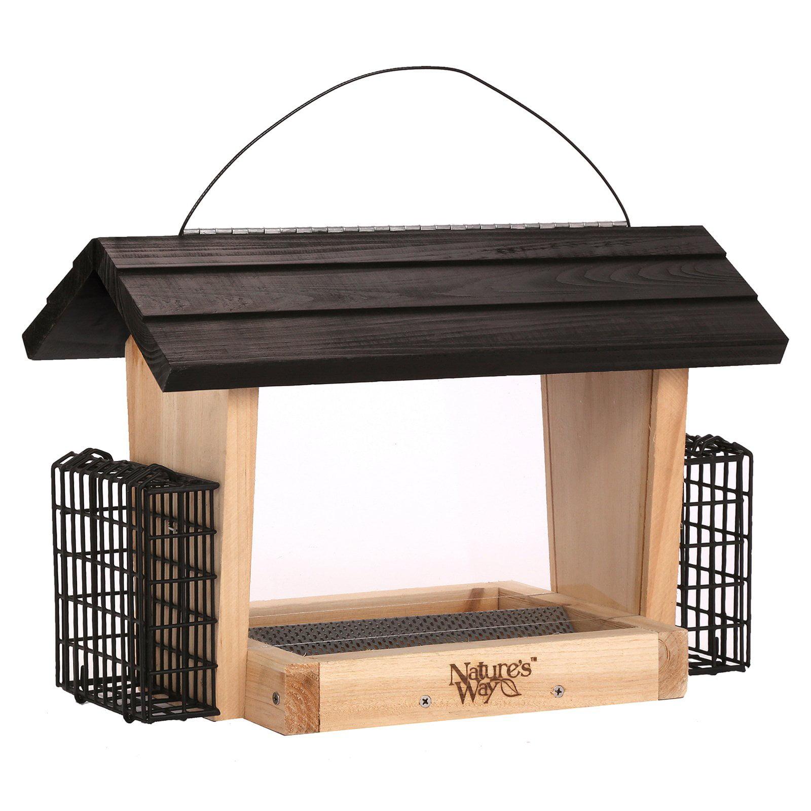 Nature's Way 6 qt. Cedar Hopper Feeder with 2 Suet Cages