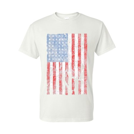 - Distressed American Flag USA Patriotic Clothing Mens Unisex Top T-Shirt