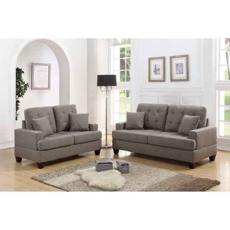 Polyfiber 2 Piece Sofa Set With Plush Cushion In Light Brown ()