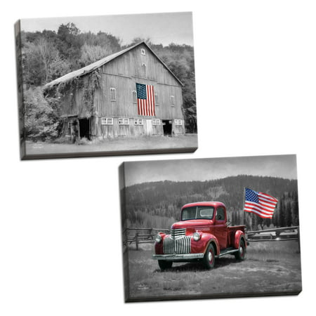 Gango Home Decor Country-Rustic American Made II & Patriotic Farm II by Lori Deiter (Ready to Hang); Two 18x12in Hand-Stretched Canvases](Patriotic Decor)