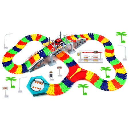 Create A Road 'Flex Bridge' 192 Piece Toy Car & Flexible Track Playset w/ Toy Car, Accessories