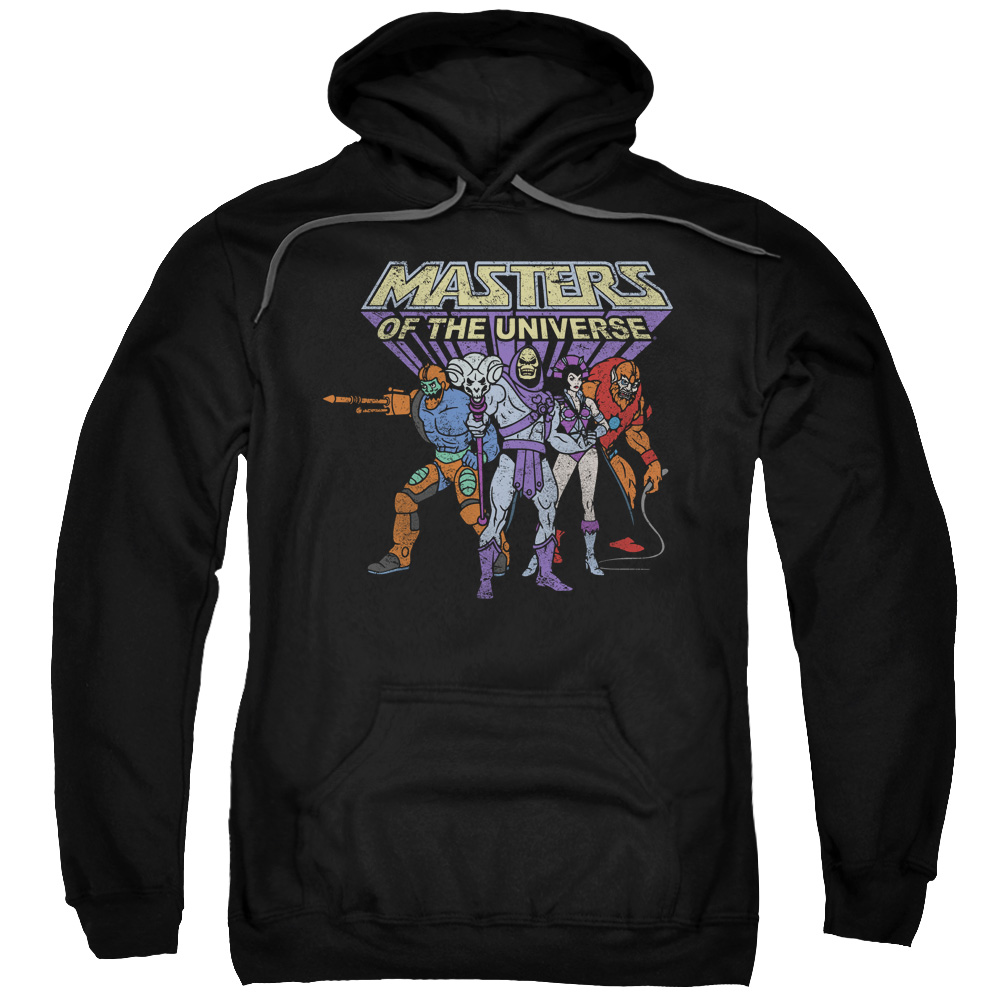 MASTERS OF THE UNIVERSE/TEAM OF VILLAINS-ADULT PULL-OVER HOODIE-BLACK-XL