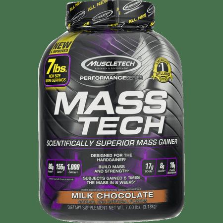 Muscletech Mass Tech Gainer Protein Powder, Milk Chocolate, 60g Protein, 7