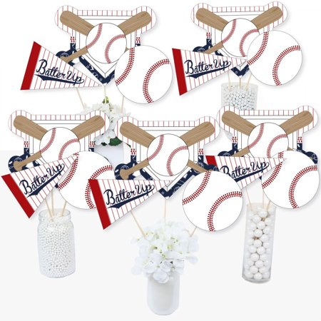Mason Jar Baby Shower Centerpieces (Batter Up - Baseball - Baby Shower or Birthday Party Centerpiece Sticks - Table Toppers - Set of)