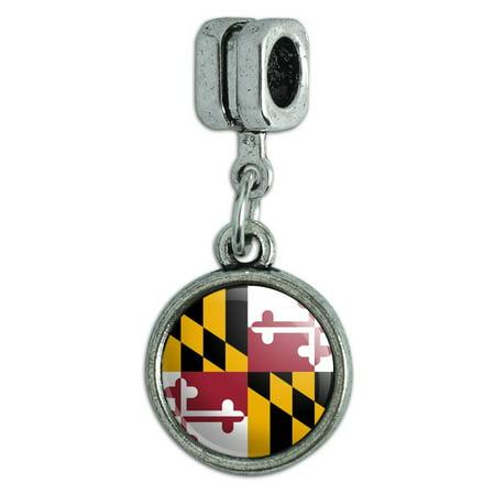 Maryland State Flag Italian European Style Bracelet Charm (Maryland State Charm)