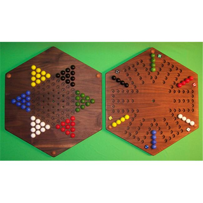 THE PUZZLE-MAN TOYS W-1975 Wooden Marble Game Board - (2 Games In 1) - 20 in. Hexagon - Aggravation 6-Player 6-Hole & Chinese Checkers - Walnut